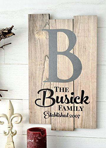Personalized Rustic Pallet Wood Sign Family Name Sign Established With Monogram 11x18]()