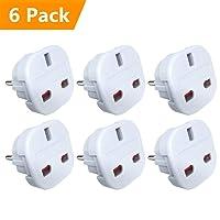 [ Pack of 6 ] UPZHIJI Travel Adapter - UK to EU Euro European adapter White Plug 2 Pin