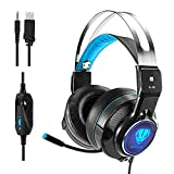 Active Noise Canceling Headphones, Makibes Over Ear Gaming Headset with LED Light Microphone for PC, PS4, Xbox One, Nintendo Switch