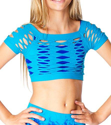 Malibu Sugar Girls (7-14) Short Sleeve Malibu Mesh Top One Size Turquoise