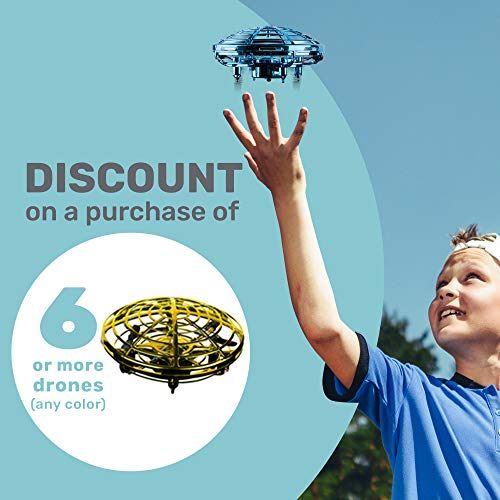 UFO Hand-Controlled Drone, UFO Drones for Kids, Drone for Adults, Flying Toys for Kids, Red - BabyLuv