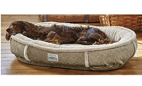Orvis Wraparound Dog Bed Cover With Faux Fur / Large Dogs 50-80 Lbs., Brown Tweed, Large by Orvis