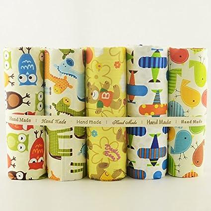 OPEN BUY 5 Telas Infantiles animalitos DE 20 X 50 cm para Manualidades, Costura,