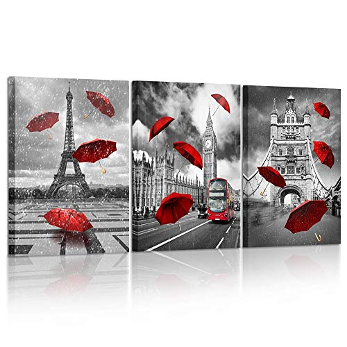 Kreative Arts 3 Piece Black and White Eiffel Tower with Red Umbrella on Paris Street Painting Big Ben in London Romantic Picture Framed Artwork Prints Canvas Set of 3 Ready to Hang 16x24inchx3pcs (Black And Red Artwork)