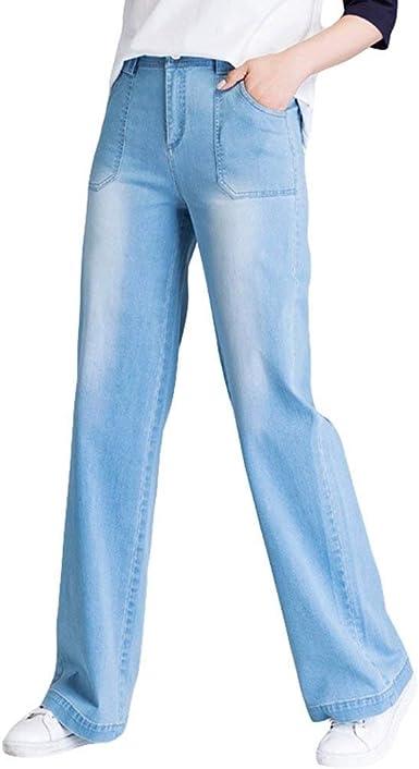 Laisla Fashion Pantalones De Pierna Ancha De Verano Para Mujer Pantalones Clasico De Mezclilla Flojos Pantalones De Mezclilla De Bolsillo Delantero Sueltos Cintura Alta Pantalones Casuales Mujeres Amazon Es Ropa Y Accesorios