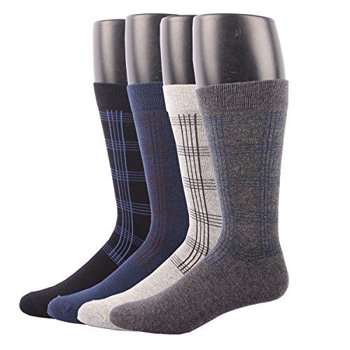 RioRiva Men's Dress Socks Mid Calf Crew Tube Socks for Business Grey Black Navy,BSK06 - Pack of 4,One (Marilyn Monroe Fancy Dress Size 8)