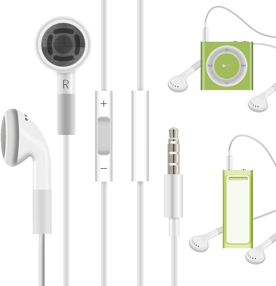 Jelanry 3.5mm Earphone Earbuds Headphones with Remote for Shuffle 2 3 4 5 6, Touch 2G 3G 4G 5G Classic nano6 - White