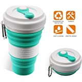 Collapsible Coffee Cup - iGreely Silicone Folding Cup/Mug Sport bottle with Lids - Foldable & Portable & Lightweight…