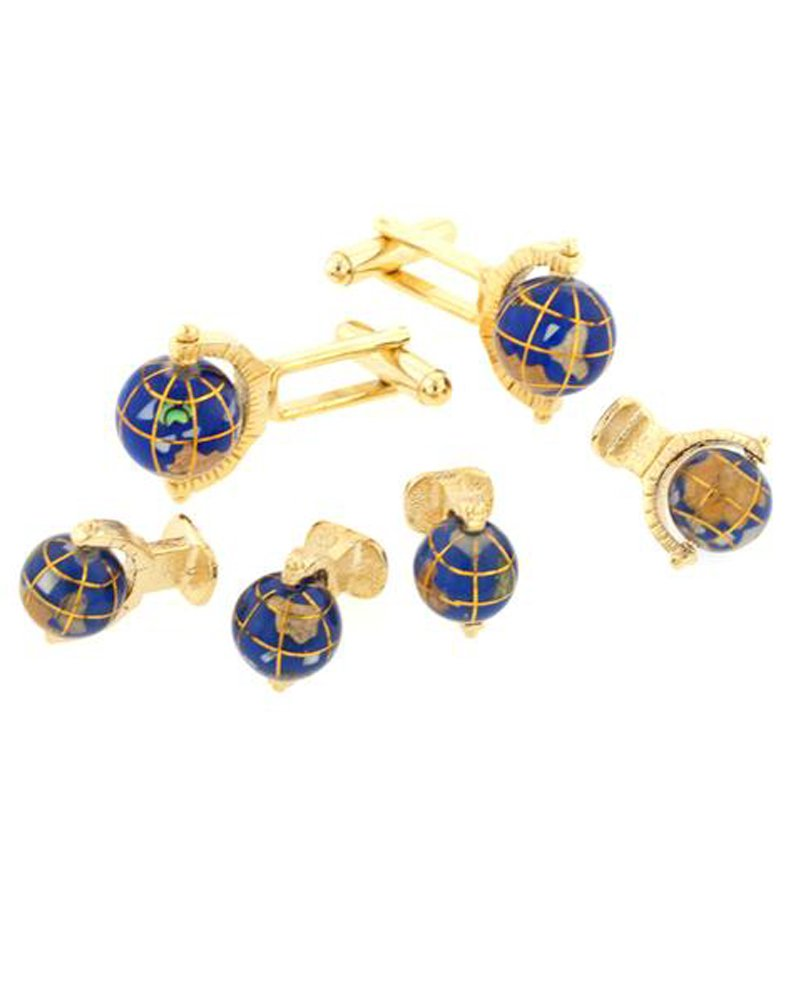 Spinning Globe Formal Tuxedo Cufflinks and Studs Set in Gold
