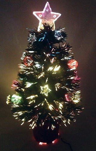 2ft//60cm LED Fibre Optic Christmas Tree Pre-Lit Stars Baubles Decorations Lights
