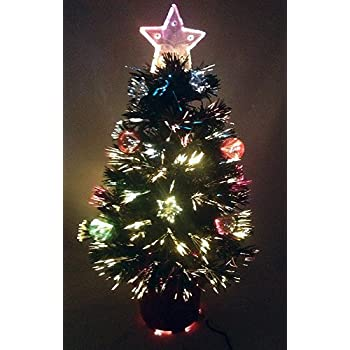 32 inch green fibre optic christmas tree with stars and baubles and red base