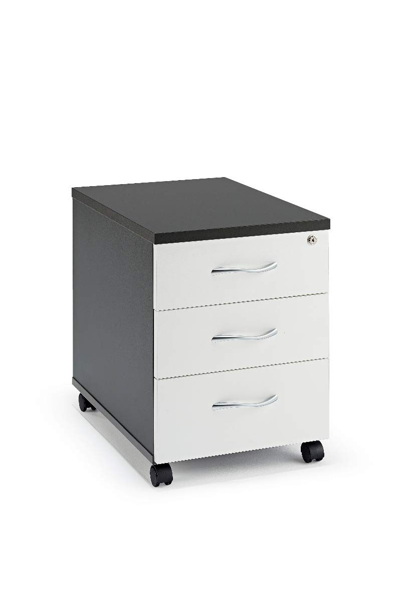 National Office Furniture Supplies Graphite and White Under Desk Mobile Pedestal with Silver Handles