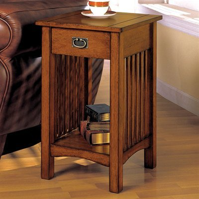 Valencia Antique Oak Finish Telephone Stand with One Drawer (Stand Plant Oak Finish)