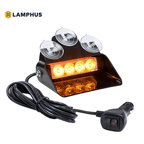 Corner Strobe - LAMPHUS SolarBlast SBWL14 Emergency Vehicle LED Dash Light [4W LED] [32 UNIQUE FLASH PATTERNS] [ADJUSTABLE ANGLE] Strobe Light for Dash, Deck & Windshield - Amber