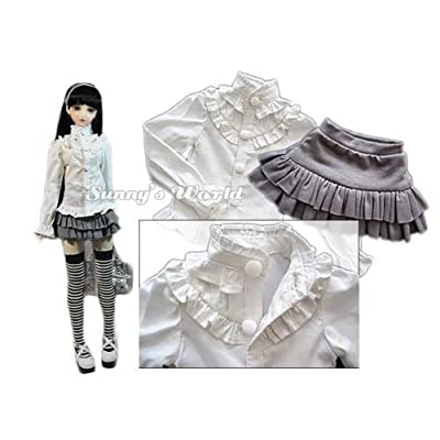 1/3 BJD DOD AS DZ SD LUTS Dollfie Outfit/ Doll Suite / Stand Collar Shirt + Frilled Skirt/ White+ Grey: Toys & Games