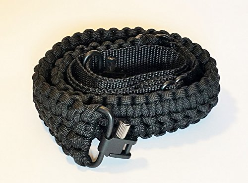 Extra Wide Gun Sling Paracord 550 Adjustable w/ Swivels (Multiple Color Options) (Black)