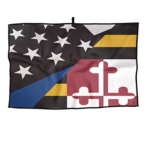 Eplus Waffle Microfiber Golf Towel Light Weight & Quick Drying Blue Line Maryland Flag Cart Towel 15