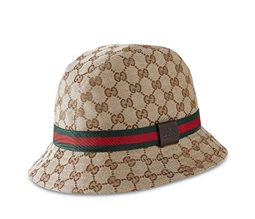 Gucci GG Canvas Fedora with Web Detail, Beige/ebony 200036 (Medium (58)) (Gucci Canvas Hat)