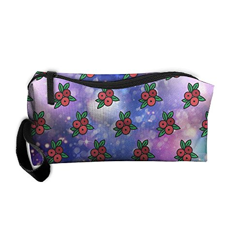 Szqbag Cranberry Pattern Printing Portable Multiple Usage Handbag Storage Pouch Bag Case Accessories Organizer Healthcare Kit Grooming Kit Cosmetics Bag Make-up Bag With Zipper