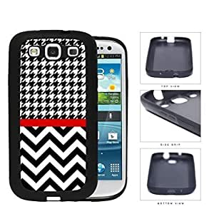 Black and White Houndstooth Pattern on Top with Chevron Pattern on Bottom and Red Line in Center Rubber Silicone pc hard Cell Phone Case Samsung Galaxy S3 SIII I9300