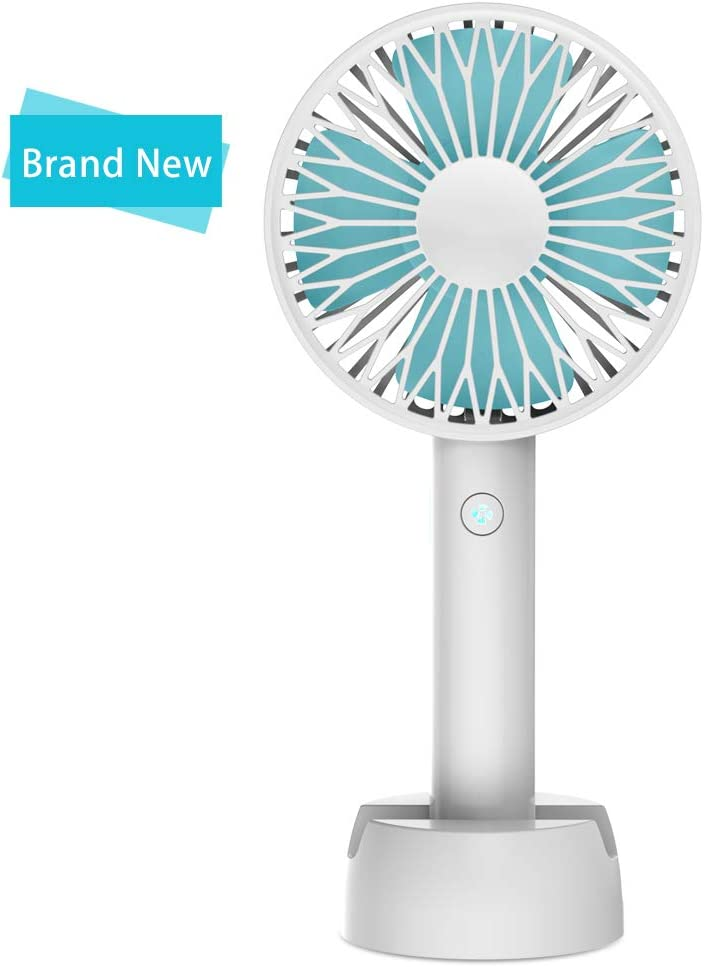 Worldseng 2019 New Mini Handheld Fan, Desktop Fan with Rechargeable Battery, USB Fans Cooling Desktop Electric Fan with Base, Mini Fan Strong Wind for Office Room Travel and Outdoor 3 Speed,White