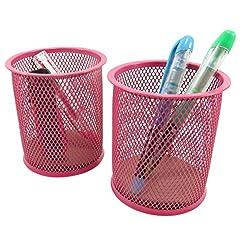 Mesh Wire Pen Pencil Holder Round 3 7/8 x 3 1/2 Neon Pink (Set of 2)