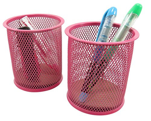 Mesh Wire Pen Pencil Holder Round 3 7/8 x 3 1/2 Neon Pink (Set of 2)