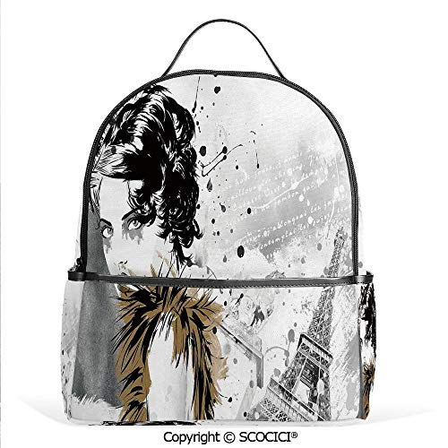 3D Printed Pattern Backpack Posing Fashion Model Girl with Feathers and Dots Paris Eiffel Contemporary Art,Grey White,Adorable Funny Personalized Graphics