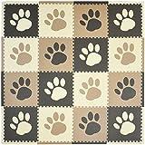 Tadpoles 16 Sq Ft Pawprint Playmat Set, Brown