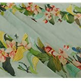 Floral Printed Green Chiffon Designer Sheer Light Weight Fabric By The Yard