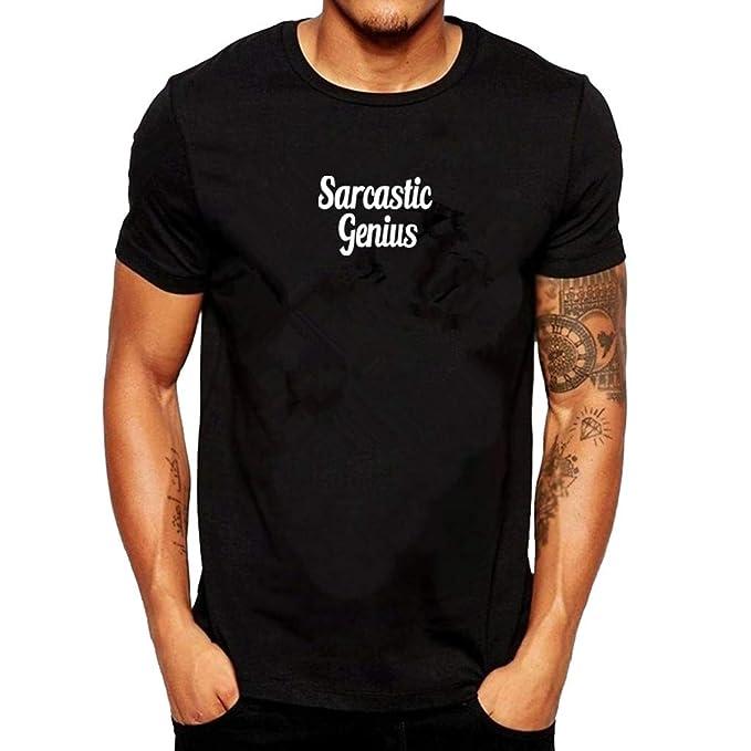 Camisetas para Hombre, YpingLonk Crew Neck T-Shirt Genio Satirico ...