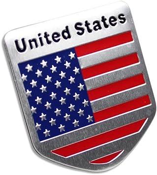 TOTUMY Usa Flag License Plate Metal Chrome Car Badge Sticker Decal Emblem Trunk Side Logo Auto 3D Adhesive Die Cast Zinc Alloy 1 Piece