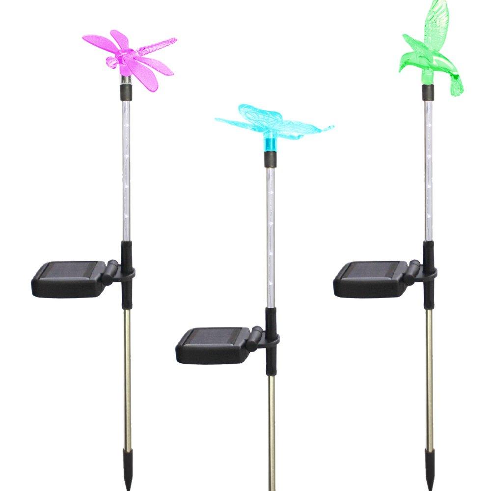 Morning Star Solar Garden lights, 3-Pack Solar Stake Light Hummingbird Butterfly Dragonfly, LED outdoor waterproof lights, solar street lights, landscape lights, suitable for weddings, gardens, lawns,