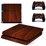 XMY Wood Grain Decal Skin Sticker for Playstation 4 PS4 Console+Controllers #0534