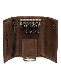 Allnice Leather Key Holder Wallet Pouch Retro Leather Keychain Key Case with 6 Hooks