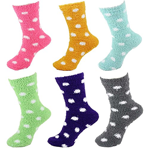 Fuzzy Dot Socks (BambooMN Assorted Super Soft Cozy Warm Microfiber Fuzzy Polka Dots Socks - Assortment F - 6 Pairs Value Pack)