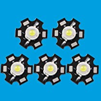 Led World 10 PCS 3W High Power Cool Cold White LED Light Emitter 10000K with Star Base