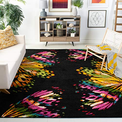 Safavieh Fiesta Shag Collection FSG368D Black and Yellow Area Rug 4 x 6