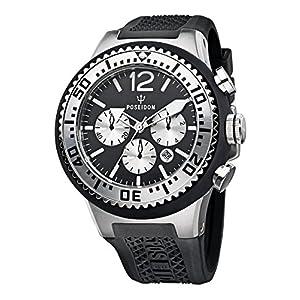 Poseidon Men's Quartz Watch POSEIDON XL Chrono P-00449 with Rubber Strap