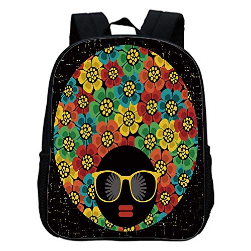 70s Party Decorations Fashion Kindergarten Shoulder Bag,Abstract Woman Portrait Hair Style with Flowers Sunglasses Lips Graphic Decorative For Hiking,One_Size -