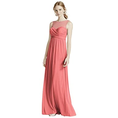 93d86634af4 Davids Bridal Long Mesh Bridesmaid Dress With Illusion Neckline Style  F15927 Coral Reef