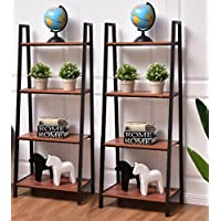 K&A Company Ladder Bookshelf Modern Bookcase Shelf Storage Tier Book Home Display Shelves Wall Decor Rack Furniture 2 pcs 4 Tier