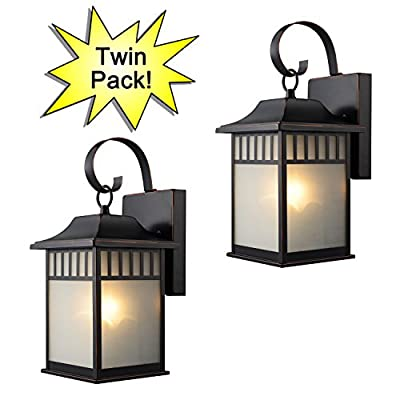 Designers Impressions 73477 Oil Rubbed Bronze Outdoor Patio / Porch Wall Mount Exterior Lighting Lantern Fixtures with Frosted Glass - Twin Pack