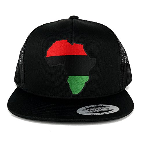 5 Panel Red Black Green Africa Map Embroidered Patch Flat Bill Mesh Snapback - BLACK by Armycrew