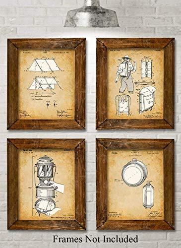 Original Camping Patent Prints - Set of Four Photos (8x10) Unframed - Makes a Great Gift Under $20 for Campers and Hikers (Knife Sure Survival Grip)