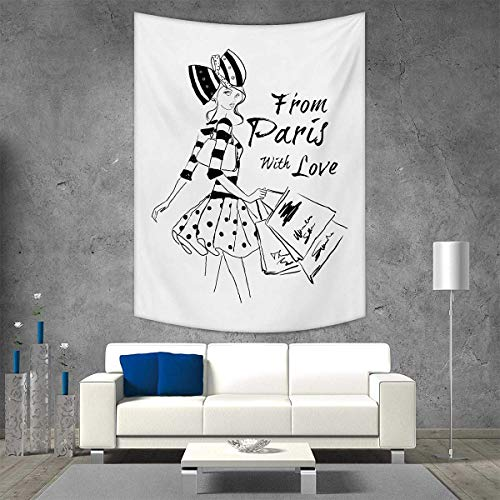 smallbeefly Paris Tapestry Table Cover Bedspread Beach Towel from Paris Love Fashion Hand Drawn Girl Figure Shopping Polka Dot Design Skirt Dorm Decor 54W x 72L INCH Black White