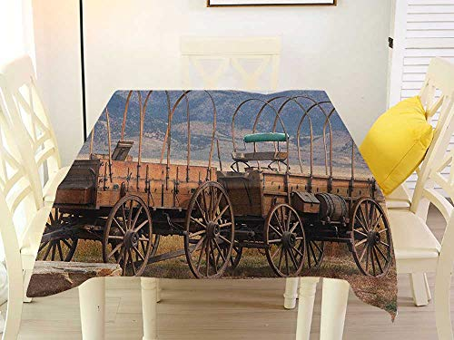 L'sWOW Square Tablecloth Stretchable Barn Wood Wagon Wheel Vintage American Carriages Western Historical Transportation Prairie Brown White Retro 60 x 60 -