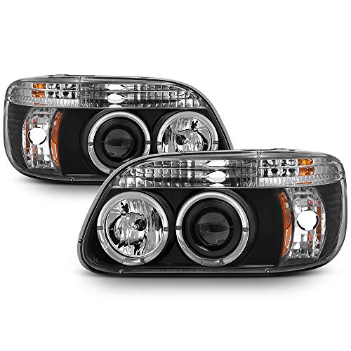 - [For 1995-2001 Ford Explorer] LED Halo Ring Black Projector Headlight Headlamp Assembly, Driver & Passenger Side