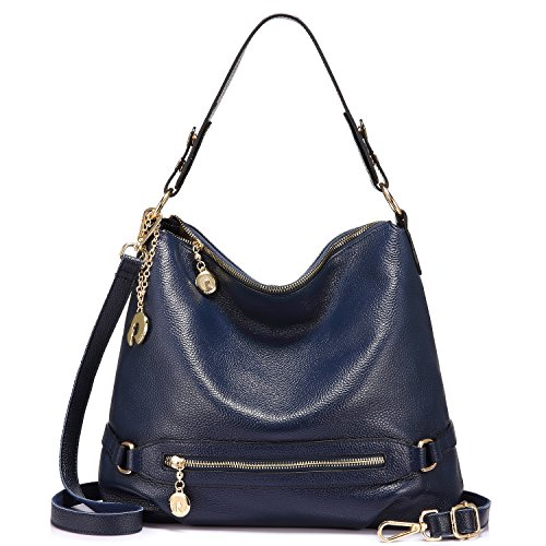 Review Genuine Leather Handbags for Women Large Designer Ladies Shoulder Bag Bucket Style [Navy ]
