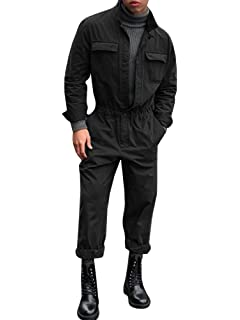 f779c383c7c2 Pengfei Mens Fall Rompers Jumpsuits Long Sleeve One Piece Drawstring Casual  Coverall with Pockets